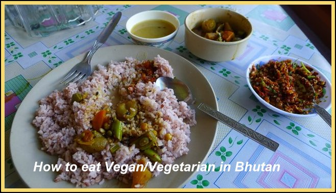 Vegan Bhutan lunch at roadside restaurant