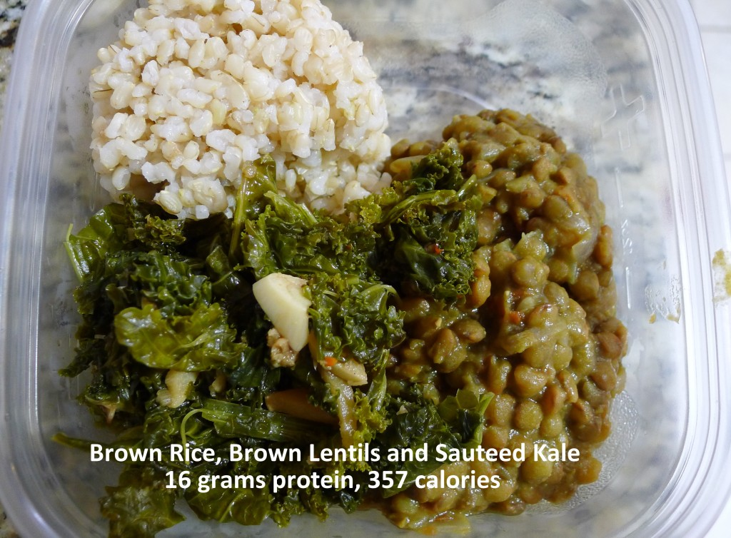 18g protein - Sauteed Kale, Lentils and Brown Rice